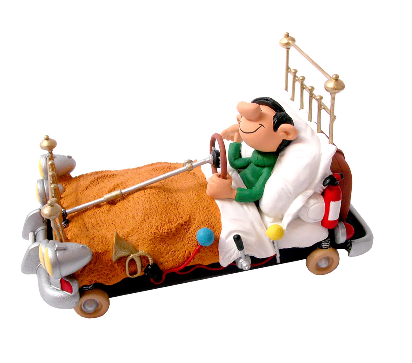 p307 gaston gaston im autobett kunstharzfigur axse die welt der comicfiguren. Black Bedroom Furniture Sets. Home Design Ideas